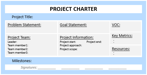 one page project charter template - project charter continuous improvement toolkit