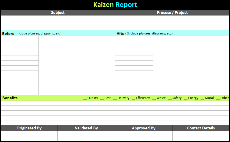 quality improvement report template - kaizen report template continuous improvement toolkit