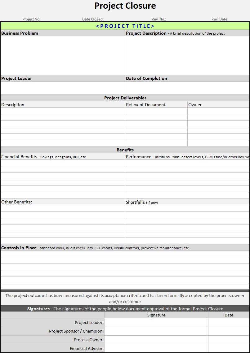Project Closure Template Continuous Improvement Toolkit - Project deliverables template